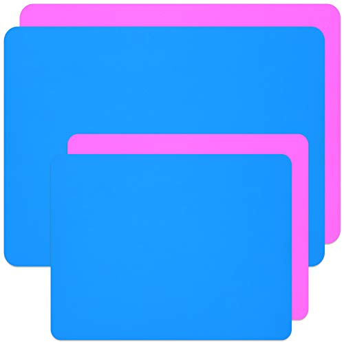 Coopay 4 Pieces A3 A4 Extra Large Silicone Sheet Silicone Mats for Crafts Resin Jewelry Casting Mat Tumbler Sheets, Waterproof Heat-Resistant (Blue and Pink, 15.7'' x 11.8'' & 11.6'' x 8.3'')
