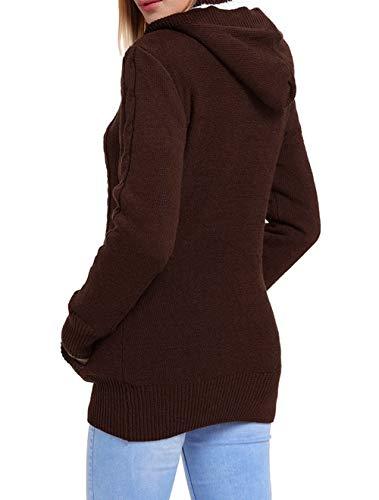 con Inverno Cappuccio Manica Outwear Donne Cappotto Autunno Casual Tops Sweater Lunga Pullover Maglieria Moda Cime Giacche Bottoni Coat con Maglione Hoodie xIp7wf6q