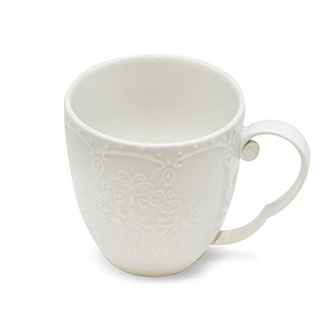 Ceramic Mug 8-Ounce for Drinking Tea Coffee Beverage Carved Flowers Design Bone China White - 8 Ounce Cafe Mug
