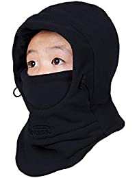 TRIWONDER Kids Fleece Balaclava Hood Ski Mask Cold Weather Face Mask Neck Warmer Winter Nose Warmer for Toddlers Boys Girls (Black)