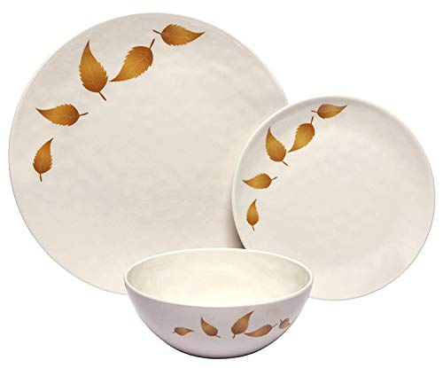Melange 608410088306 Gold Leaves Dinnerware Set (Pack of 18)