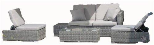 Luxus Lounge Gruppe - Tisch, Sofa, 2 Sessel, inkl. Auflagen, Poly-Rattan dunkelgrau