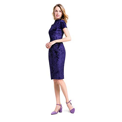 Or Blue Unie Color Jupe Velours Slim Blue Femme Couleur BBethun Elgante Temprament XL Robe Size wSWa1xIq