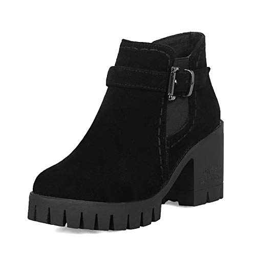 (Women's Elastic Lug Sole Platform Chunky Ankle Boots Thigh High Chelsea Booties Black)