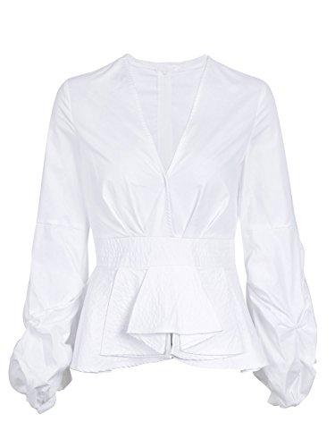 Simplee Women Deep V Neck Long Sleeve Blouse Slim Fit Striped Shirt Peplum Tops, White, 8 - Lantern Sleeve V-neck Top