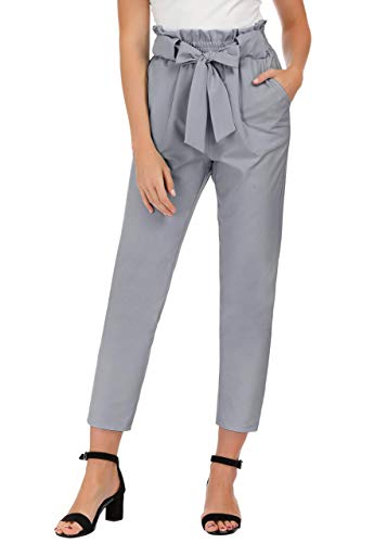 Grey Cropped Trousers - JAYHouse Womens Pants Casual High Waist Trouser Cropped Paper Bag Waist Pants with Pockets (Grey,S)