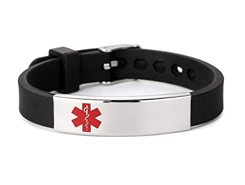 Medical Alert ID Bracelet Stainless Steel Tag with Adjustable Silicone Sport Emergency Wristband Black for Men and Women Free Engraving