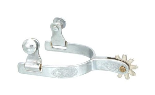 Kelly Silver Star Youth Chrome Plated Spurs. Leaf Engraving on Side. Brass Rowels