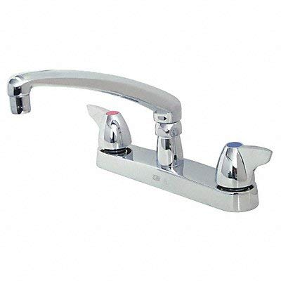 "Zurn Z871G3-XL-3F Aqua Spec Kitchen Sink Faucet with 8"" Cast Spout and Dome Lever Handles, 0.5 GPM Vandal-Resistant Pressure Compensating Female Spray Outlet"
