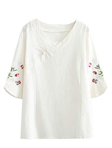 Mordenmiss Women's Frog Button Blouse Embroidered Sleeve V Neck Top 2XL White