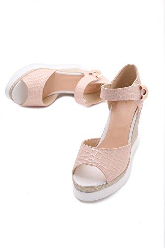 AllhqFashion Mujeres Plataforma Material Suave Ajedrezado Velcro Peep Sandalia Rosa