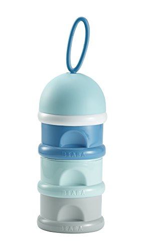 BEABA Formula & Snack Container, 3 compartments with Funnel and Carry Handle, Peacock