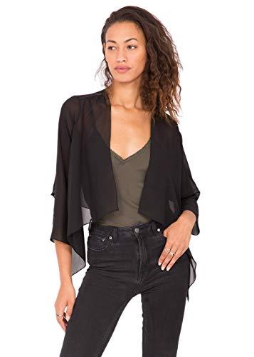 (likemary Sheer Chiffon Shrug Bolero Jacket for Evening & Day Dresses (Black US 10))