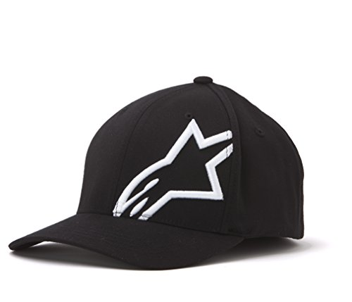 ALPINESTARS Young Men's CORP SHIFT 2 CURVED BRIM Hat, -black/white, S/M Star Flex Fit Cap