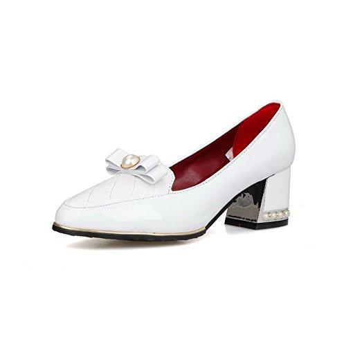 Allhqfashion Femmes Kitten-talons Pull Solide Sur Matériau Souple Aéré Bout Fermé Pompes-chaussures Blanc