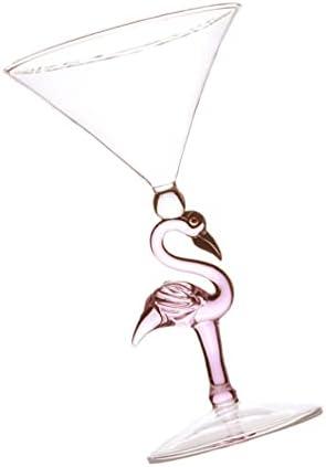 Garneck Diseño Flamenco Cóctel Cristal Copa de Vino Copa de Bebida Copa de Whisky Decantador para Boda Cumpleaños Ramo Bar Suministro (Rosa)