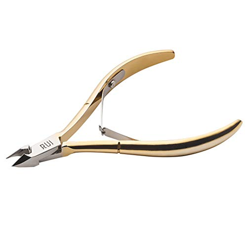 Rui Smiths Professional Cuticle Nippers, Gold-Plated Carbon Steel, French Handle, Double Spring, 6mm Jaw (Full Jaw) ()