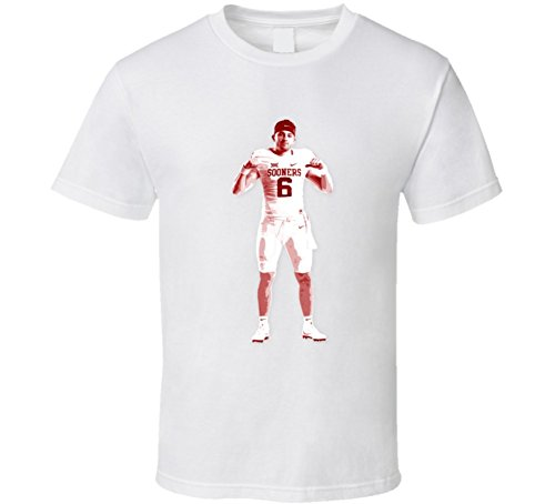 Baker Mayfield QB Oklahoma Heisman College Football T Shirt SY White