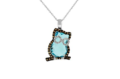 (Milano Jewelers 1.31CT White & Mocha Diamond & AAA Blue Topaz 14KT White Gold Happy OWL)
