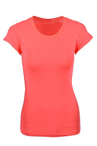 TheLovely Casual Basic Plain Crew Neck Stretch Short Sleeve Workout Tee Shirt Top (coral, s )