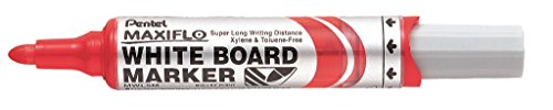 (Pentel MWL5M-BO whiteboard Marker Maxiflo with Pumping System Round Point, 2.5 mm, 1 Piece, red)