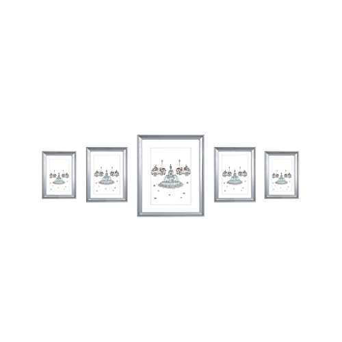 EDGEWOOD Ridgewood Multi pack gray wall picture frame set 5 pieces includes :one 8x10 inch,two 5x7 inch,two 4x6 inch Gray