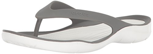 (Crocs Women's Swiftwater Flip-flop, Smoke/White, 9 M US)