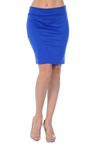 Jubilee Couture Women's Ponte Roma Mini Pencil Skirt (Medium, Royal Blue) (Ponte Mini)