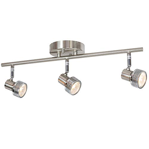 MELUCEE 3 Heads Spotlight Ceiling Fixture Brushed Nickel 50W GU10 Base Bulbs Included, Kitchen Track Lighting Semi Flush Mount Wall Light for Kitchen Island Hallway Gallery ()