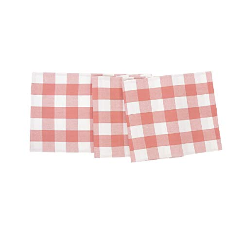 C&F Home Franklin Buffalo Check Gingham Plaid Woven Spring Easter Summer Cookout Peony and White Cotton Table Runner Table Runner Peony