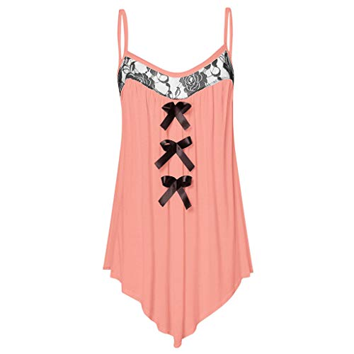 Womens Fashion Sleeveless Lace Panel Bow Knot Embellished Camisole Tank Tops Pink
