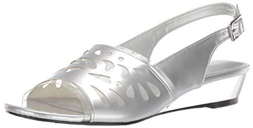 Easy Street Women's Celebrate Slingback Sandal Wedge, Silver Patent 12 W - Slingback Patent Silver