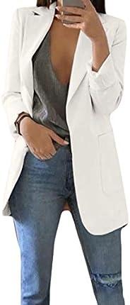 Spirio Womens Formal Slim Plain Open Front Work Office OL Blazer Jacket Suit Coat