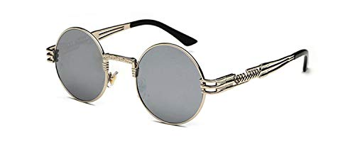 5e4d95e13c Vintage Retro Gothic Steampunk Mirror Sunglasses Gold And Black Sun Glasses  Vintage Round Circle Men UV