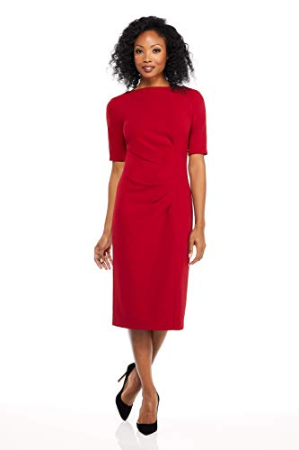 Maggy London Women's Petite Novelty Knit arc Shoulder Sheath, red, 12P