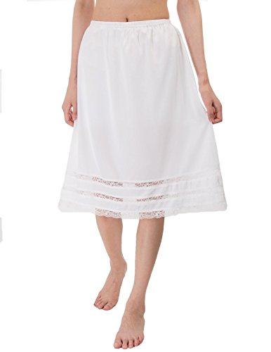 (Women's Classic Half Slip Lace Skirt for Wedding(M,Ivory))