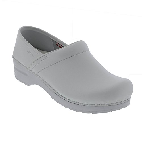Clogs White Leather - Sanita Women's Professional PU Leather Clogs White