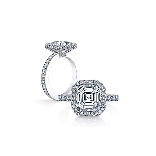 Asscher Square Ring - Erllo 925 Sterling Silver 3 Carat Asscher Cut Square Cubic Zirconia Women White Gold Plated Silver Halo Engagement Wedding Rings (6.5)