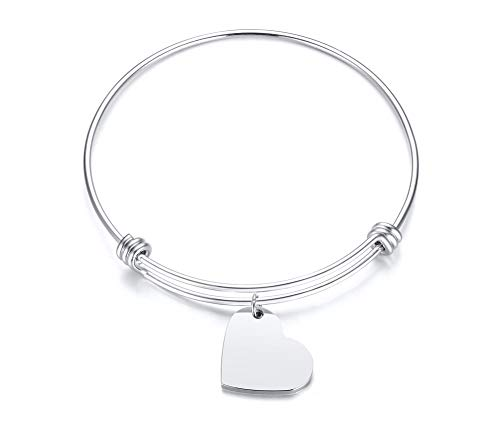 Custom Bangle - XP Custom Engraving Stainless Steel Charm Bracelet Adjustable Bangle Personalized for Women Girl Sister (Engraving/Sliver Heart Tag)