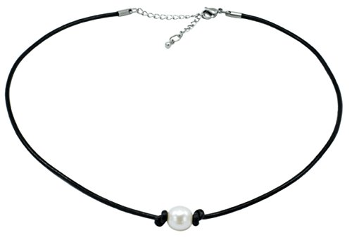 Freshwater Cultured 9.5-10.5mm Single Pearl Choker Necklace on Black Leather Cord with Ext. Clasp,15-17
