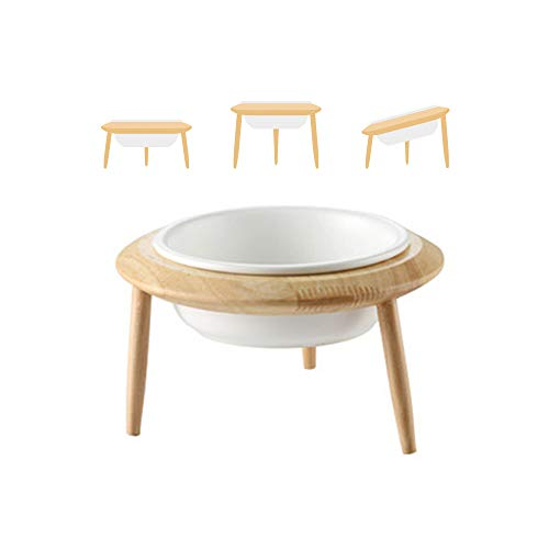 LIONWEI LIONWELI White Ceramic Adjustable Elevated Raised Pet Bowl with Wood Stand for Cats and Dogs No Spill Pet Food Water Feeder (3 Installation Methods for Different Height) Large