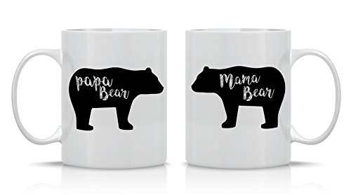 Mama Bear, Papa Bear Couples Mug - Funny Couple Mug - (2) 11OZ Coffee Mug -...