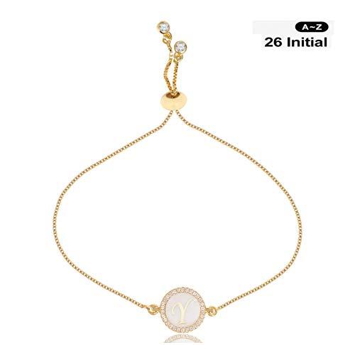 Gold Snake Bracelets - CILILI Design 26 Alphabet Charms Initial Shell Letters with White Rhinestones Snake Chain Bracelet for Women Girls Adjustable (Gold, Y)