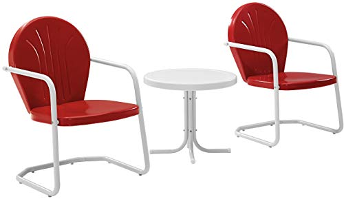 Crosley Furniture Griffith 3-Piece Metal Outdoor Conversation Set with Table and 2 Chairs – Red