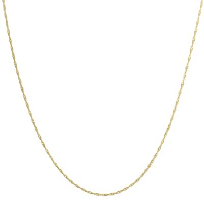 Solid 14k Yellow Gold 1mm Singapore Chain (14, 16, 18, 20, 22, 24 or 30 inch) by Fremada