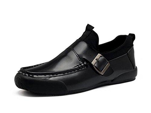 Mocasines de negocios transpirable Moda Slip-ons Men's Casual Light Low Low Buckle decoración antideslizante Wareable ocio zapatos UE tamaño 39-44 Black