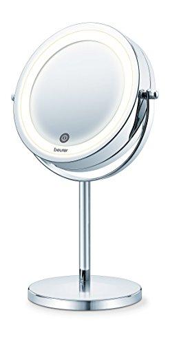 Beurer BS55 - Espejo maquillaje con luz, luz LED brillante (18 LEDs), espejo pivotante, encendido con sensor tactil, 1 cara vista normal, 1 cara visto aumento (x7), acabados cromados
