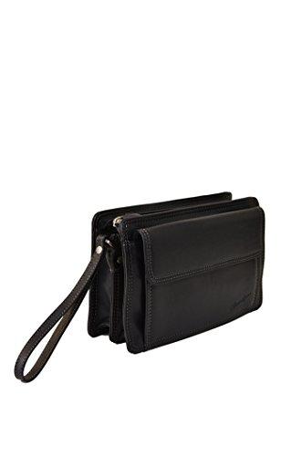 Borsa a tracolla in pelle nera per uomo, marchio francese Gérard Henon, collezione Soft Line