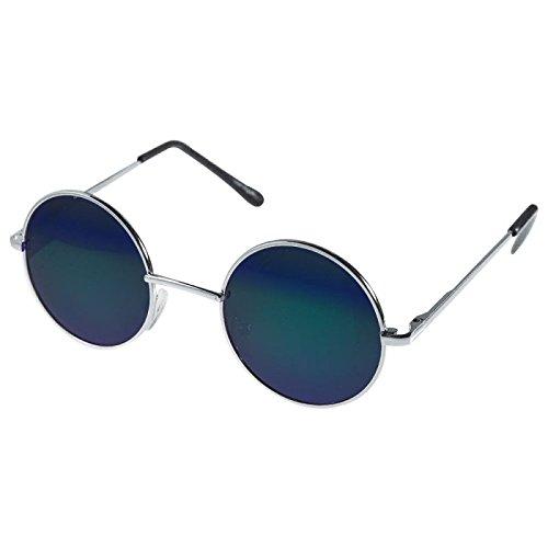 Lunettes de soleil Chic-net unisexe lunettes rondes de hippie John Lennon teintées 400UV longue jetée miroir d'argent (arc) hV2bGc