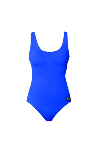 Aeroskin Polypropylene Womens's One Piece Swim Suit In Solid Colors (Blue, Large)